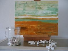 Small Abstract Modern acrylic painting, green sea with brown beach, mediterranean colours, nautical, ocean, seaside. €35.00, via Etsy.