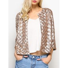 29.55$  Buy now - http://divd9.justgood.pw/go.php?t=201608301 - Open Front Collarless Sequined Jacket