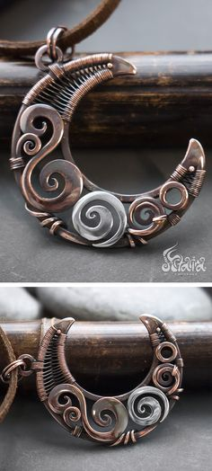Mixed metals wire wrapped copper and silver crescent moon necklace