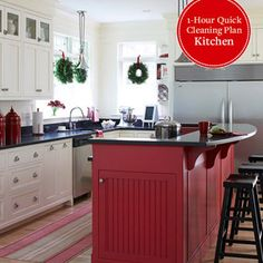 I really like this kitchen! Especially the RED island!