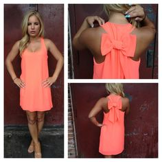 Neon Coral Bow T-Back Dress