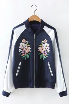 Embroidery Pattern Side Pcokets Long Sleeves Bomber Jacket - US$41.95 -YOINS