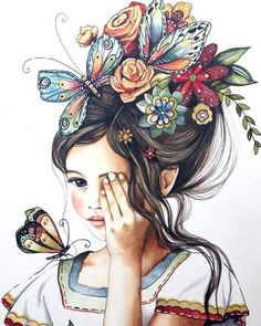 Delikatesse in der Illustration - - Girly Drawings, Art Drawings Sketches, Butterfly Art, Anime Art Girl, Portrait Art, Love Art, Art Pictures, Fantasy Art, Watercolor Paintings