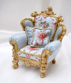 Beautiful Miniature Ornate French Lounge Chair ~ Upholstered in Silk and Floral Combination Complete with 2 Hand Stitched Cushions