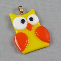 Glass Owl Pendant with Yellow and Orange Fused Glass (137). $15.00, via Etsy.