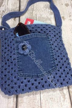 Handmade Granny Square Crochet Bag in blue with flower detail, denim pocket & li. Handmade Granny Square Crochet Bag in blue with flower detail, denim pocket & li… Handmade Grann Black Pocket Square, Pocket Square Styles, Men's Pocket Squares, Bag Crochet, Crochet Purses, Crochet Granny, Crochet Stitches, Crochet Patterns, Crochet Motif