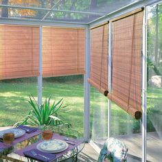 Lewis Hyman Woodgrain Indoor/Outdoor 1/4 inch Rollup Blind