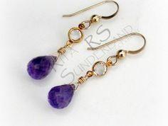 Gold dangle amethyst earrings   #amethyst #gold #Swarovski
