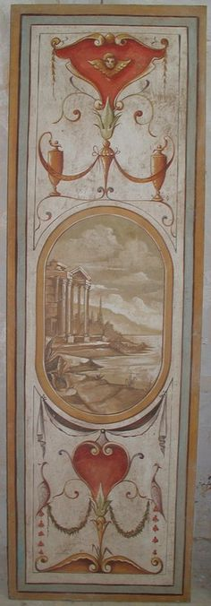 painted Roman fresco on panel