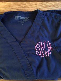Monogrammed Grey\'s Anatomy scrubs. For the preppy nurse.