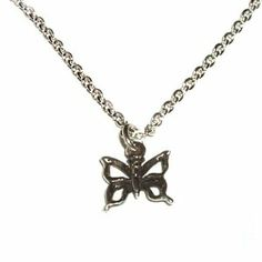"""Sterling Silver Children's Butterfly Charm Necklace for Girls in Gift Box, 14"""" Italian Box Chain Tiny Treasures. $24.00. Save 40%!"""