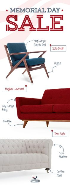 Don't be generic with your furniture choices, make a statement with Mid Century Modern furniture from Joybird! Take 20% off EVERYTHING right now during our  Memorial Day Sale! Sit on them, lunge on them, if you don't love your Joybird, we'll give you a full refund. Plus get FREE in-home delivery & lifetime warranty!