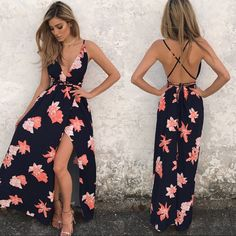 Navy And Coral Open Back Floral Maxi Cami Dress