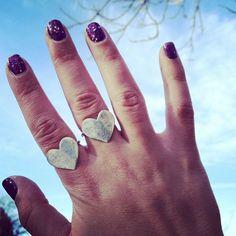 Turquoise Heart Ring Oxidized Sterling by RachelPfefferDesigns