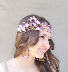 Whimsical Flower Crown, Bridal hair crown, Wedding flower head piece, Bridal flower crown, Pink Calla Lilly and purple berries on Etsy, $45.00