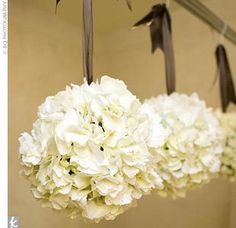 The flower girls will carry pomander balls made of ceam hydrangeas and spray roses hanging from ivory ribbon.