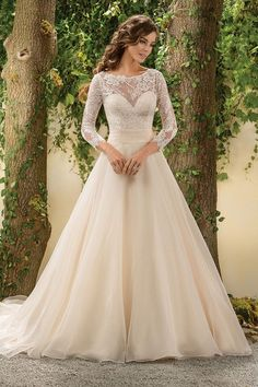Lace bodice long-sleeved cream wedding gown