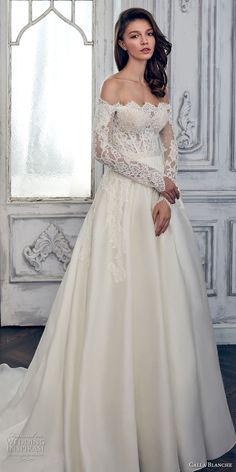 Calla Blanche spring 2017 bridal long sleeves off the shoulder scallop straight across neckline heavily embroidered bodice romantic a  line wedding dress chapel train (17108) mv #wedding #bridal #weddingdress