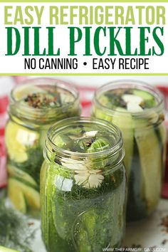 This Easy Homemade Refrigerator Dill Pickles recipe packs a lot of crunch and zesty flavor. There is no canning involved in this easy refrigerator pickle recipe. This recipe is a great way to use those cucumbers you just picked from your garden or bought at your farmers' market. These refrigerator pickles are cucumbers that are pickled in a homemade brine with garlic, dill and spices. Canning Dill Pickles, Garlic Dill Pickles, Pickled Garlic, Pickles Recipe, Easy Pickle Recipe, Dill Pickle Recipe No Canning, Easy Pickling Spice Recipe, Dill Pickle Recipes, Pickling Spices
