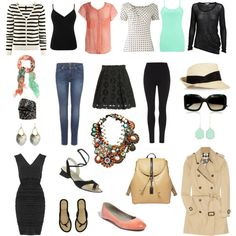Who cares about travel - such cute clothes! another pinner wrote: 22 basic wardrobe elements plus accessories that will see you through a few weeks of travel in spring temperatures. Core Wardrobe, Wardrobe Basics, Capsule Wardrobe, Helmut Lang, Outfits For Teens, Cool Outfits, Travel Wardrobe, Vacation Wardrobe, Burberry