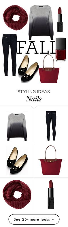 """""""College Fall Outfit // Sophie"""" by rainbow-icon-girls on Polyvore featuring 360 Sweater, Veronica Beard, TOMS, Longchamp, NARS Cosmetics and rainbowgirlsophiesticated"""
