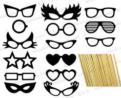 photo booth prop templates | ... Photography Photo Booth Prop Mustache Lips Glasses On a stick PH0017