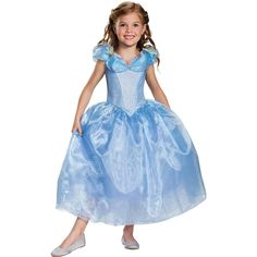 From the fabulous new Disney Cinderella movie! Deluxe blue dress has a fitted bodice with a pretty butterfly-accented shirred neckline and a tea-length full double-layered skirt with underskirt. Your