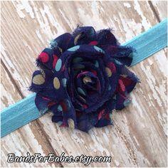 Blue Pink and Navy Polka Dot Flower Headband, Blue Elastic Headband, Shabby Chic Hair Accessory, Baby Headband, Toddler Headband, Girls Headband, Etsy, Flower Hair Accessory by BandsForBabes, $5.00