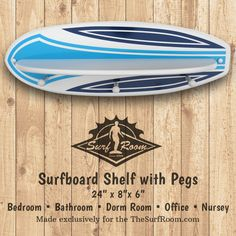 This surfboard shelf decorated with a colorful surfboard pinstripe design is sure to add a wave of color and function to your walls. Our surfboard wall decoration is designed as a surfboard shelf & surfboard rack. A surfboard shelf is great for accenting a surf theme bedroom or bathroom wall. Surfboard shelf includes a shelf...