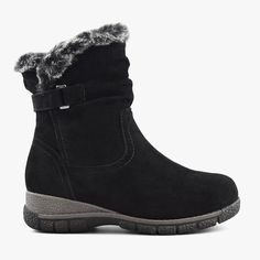 Women's Suede Leather Winter Boots Berlin in Black – Comfy Moda Black Leather Boots, Suede Boots, Suede Leather, Winter Snow Boots, Short Boots, Shoe Box, Memory Foam, Wool Blend, Berlin