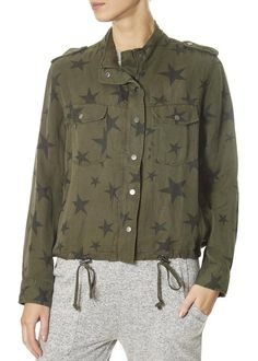 This is the 'Collins' Khaki Jacket With Stars by top brand, Rails! Featuring long sleeves, a button down front, two front pockets, and stars. This is the essential piece your closet needs to bring you into Spring! SHOP NOW Pj Shorts, Khaki Jacket, Black Jumper, Spring Jackets, Khaki Green, Blue Stripes, Military Jacket, Shirt Dress, Long Sleeve
