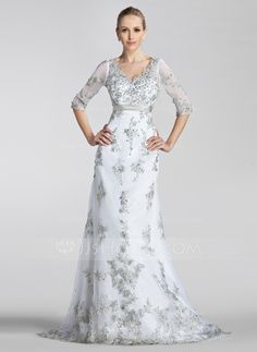 [US$ 352.99] A-Line/Princess V-neck Court Train Tulle Wedding Dress With Beading Appliques Lace Sequins Bow(s)