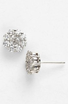 "It says ""flower"" but they kind of look like snowflakes to me!  Bony Levy 1.50ct tw Diamond Flower Earrings (Nordstrom Exclusive) available at #Nordstrom"