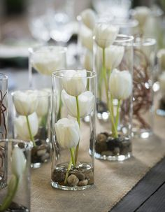 Vases Filled with White Tulips Whimsical Branches & Paper DIY Wedding Inspiration Photographer: IJ Photo Diy Wedding Flower Centerpieces, Diy Wedding Flowers, Diy Flowers, Simple Centerpieces, Table Flowers, Wedding Tulips, Flowers Vase, Diy Wedding Table Decorations, Centerpiece Flowers