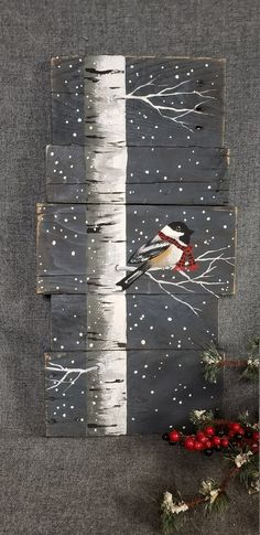 Christmas painting on pallet wood, White Birch and bird with red scarf, Red buffalo plaid scarf, hand painted Christmas decor on wood - dekoration Christmas Wood, Christmas Signs, Christmas Wreaths, Christmas Crafts, Christmas Decorations, Christmas Ornaments, Etsy Christmas, Christmas Art Projects, Xmas