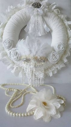 White masquerade mask rag wreath  White rag by Chiclaceandpearls