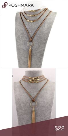 Bohemian Multilayer Necklace Bohemian Long Multilayered Necklace.        Tan and Gold Jewelry Necklaces