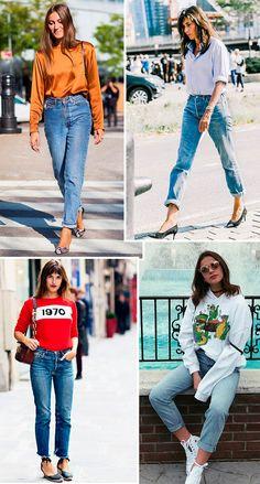 Inspirações de look com mom jeans