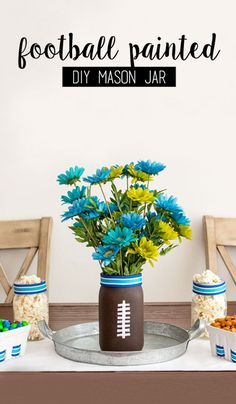 There are so many things to love about this Football Painted DIY Mason Jar. First, it's easy enough to make that your kids can get in on the decorating fun. Second, it's great for reusing every time you're hosting the game day party. And Lastly, you can customize it to help you celebrate your favorite team by serving the M&M'S® Game Day Mix alongside it. All in all we think this easy craft is a touchdown. Find all the craft supplies you need at CVS.