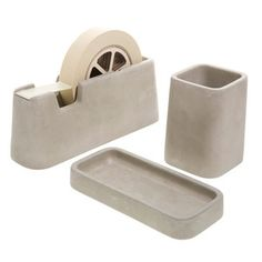 Concrete Desk Set Of Three, 60€, now featured on Fab.