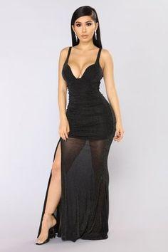 Pretend You're Mine Ruched Dress - Black