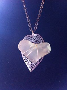 White Heart-Shaped Seaglass Necklace etsy $25