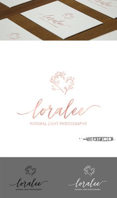 Rose Gold Photography Logo. Premade Logo Design. Skin Care
