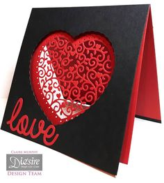 Claire Murphy - Crafter's Companion - Sara Davies Signature Collection Love & Romance - Decorative Heart die - I Love You die - Matt Black card - Collall All Purpose and 3D Glue Gel - #crafterscompanion