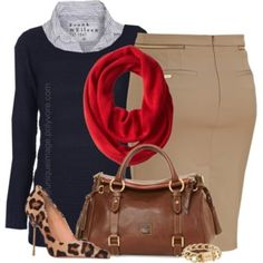 Navy Sweater, Red Scarf