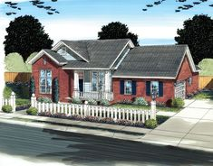Front elevation of Ranch home (ThePlanCollection: House Plan #178-1296)
