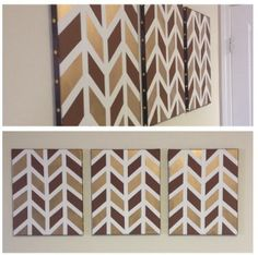 Set of 3 Chevron Canvases in Brown  Gold.  Painter's tape, paint, brown ribbon, and gold thumbtacks for the side trimming.  Project cost less than $20.