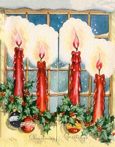 Vintage Christmas Card Trifold Snow Scene Outside A Window Trifold Christmas Labels, Vintage Christmas Cards, Retro Christmas, Vintage Holiday, Christmas Greeting Cards, Christmas Printables, Christmas Greetings, Christmas Glitter, Christmas Lanterns