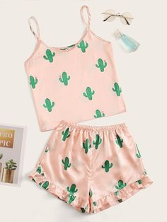 Shop Cactus Print Satin Cami PJ Set at ROMWE, discover more fashion styles online. Girls Fashion Clothes, Teen Fashion Outfits, Swag Outfits, Teenage Outfits, Outfits For Teens, Cute Lazy Outfits, Pretty Outfits, Cool Outfits, Cute Pajama Sets