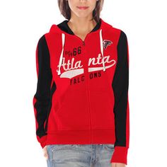 womens atlanta falcons red point after full zip hoodie